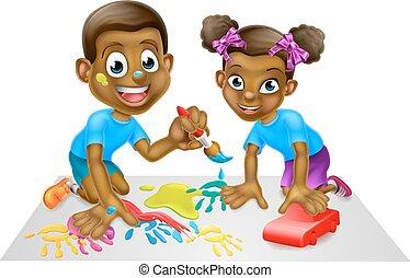 karikatur, kinder, mit, farbe, und, blöcke