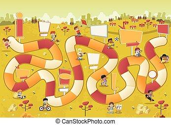 karikatur, kinder, spielen, aus, a, brettspiel, mit, a, block, pfad, auf, der, city.