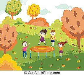 karikatur, kinder, trampolin, park, springende , herbst