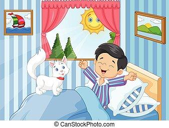karikatur, kleiner junge, aufwachen