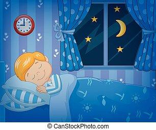karikatur, kleiner junge, eingeschlafen