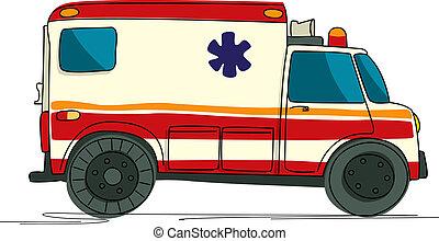 karikatur, krankenwagen