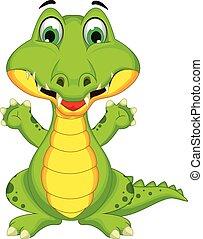 karikatur, krokodil, posierend