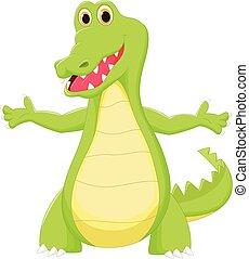 karikatur, krokodil, reizend