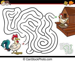 karikatur, labyrinth, aktivität, mit, hahn, und, henne