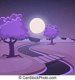 karikatur, landschaftsbild, nacht