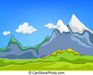 karikatur, landschaftsbild, natur