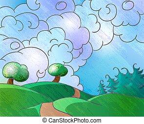 karikatur, landschaftsbild