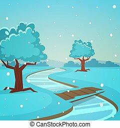 karikatur, landschaftsbild, winter