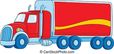 karikatur, lastwagen