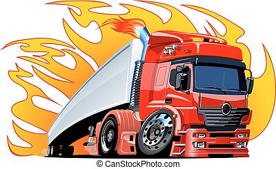 karikatur, lastwagen, halb