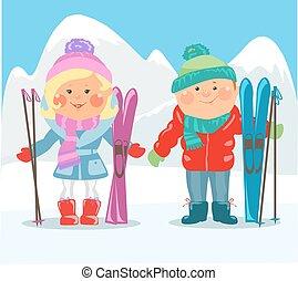 karikatur, leute, -, paar, mit, skier