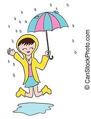 karikatur, m�dchen, spielende , in, der, rain.eps