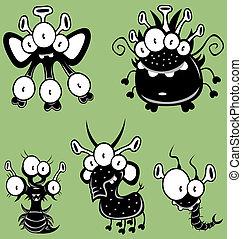 karikatur, monster