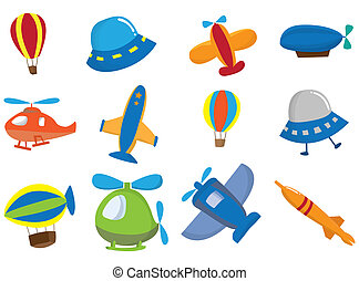 karikatur, motorflugzeug