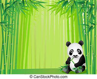 karikatur, panda
