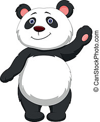 karikatur, panda, reizend, winkende