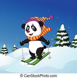 karikatur, panda, ski fahrend, unten