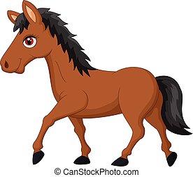 karikatur, pferd, brauner