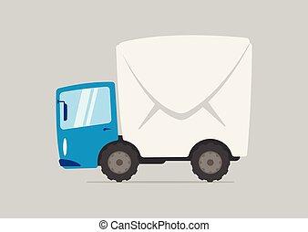 karikatur, postlieferung lastwagen