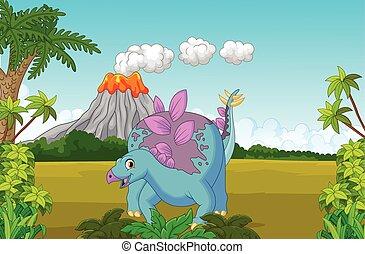 karikatur, reizend, dinosaurierer