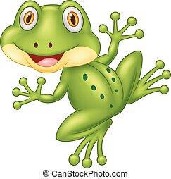 karikatur, reizend, frosch, abbildung