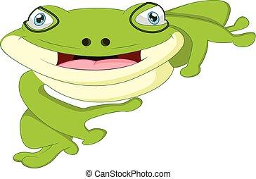 karikatur, reizend, frosch