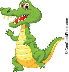 karikatur, reizend, krokodil