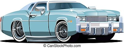 karikatur, retro, auto