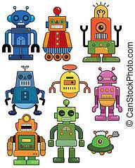 karikatur, roboter, ikone, satz