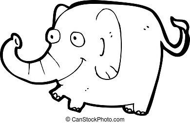 karikatur, rosa, elefant