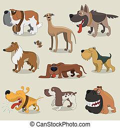 karikatur, sammlung, hunden
