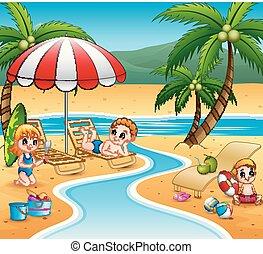karikatur, sandstrand, kinder, entspannen