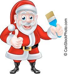 karikatur, santa, geben, daumen hoch, und, besitz, pinsel