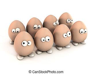 karikatur, satz, lustiges, eier