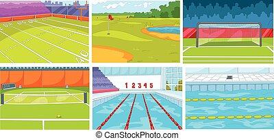 karikatur, satz, von, hintergruende, -, sport, infrastruktur