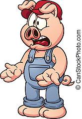 karikatur, schwein