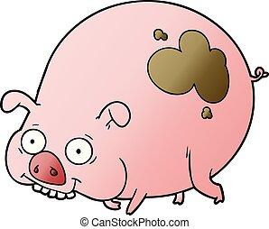 karikatur, schwein, schlammig