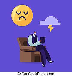 karikatur, sessel, abbildung, psychiater, traurige , oben, zeichen, consultation., sitzen, zweipolig, behandeln, doktor, störung, wolke, vektor, taschenlampe, schreiben, professionell, älter, head., lächeln, notizbuch