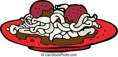 karikatur, spaghetti fleischklöße