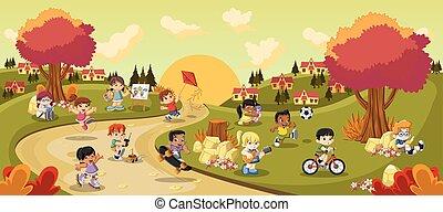 karikatur, spielende kinder