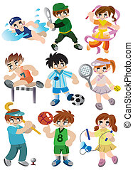 karikatur, sport, spieler, ikone, satz