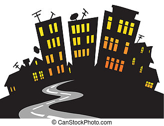 karikatur, stadt skyline