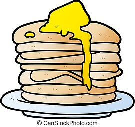 karikatur, stapel pfannkuchen