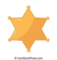 karikatur, stern, sheriff, gold