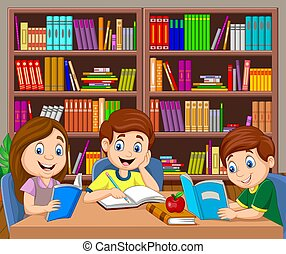 karikatur, studieren, buchausleihe, kinder
