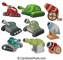 karikatur, tank/cannon, waffe, satz, ikone