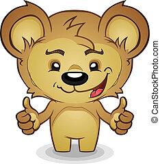 karikatur, teddy, auf, bär, daumen
