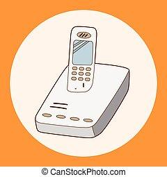 karikatur, telefon