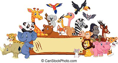 karikatur, tier, mit, unbelegtes zeichen